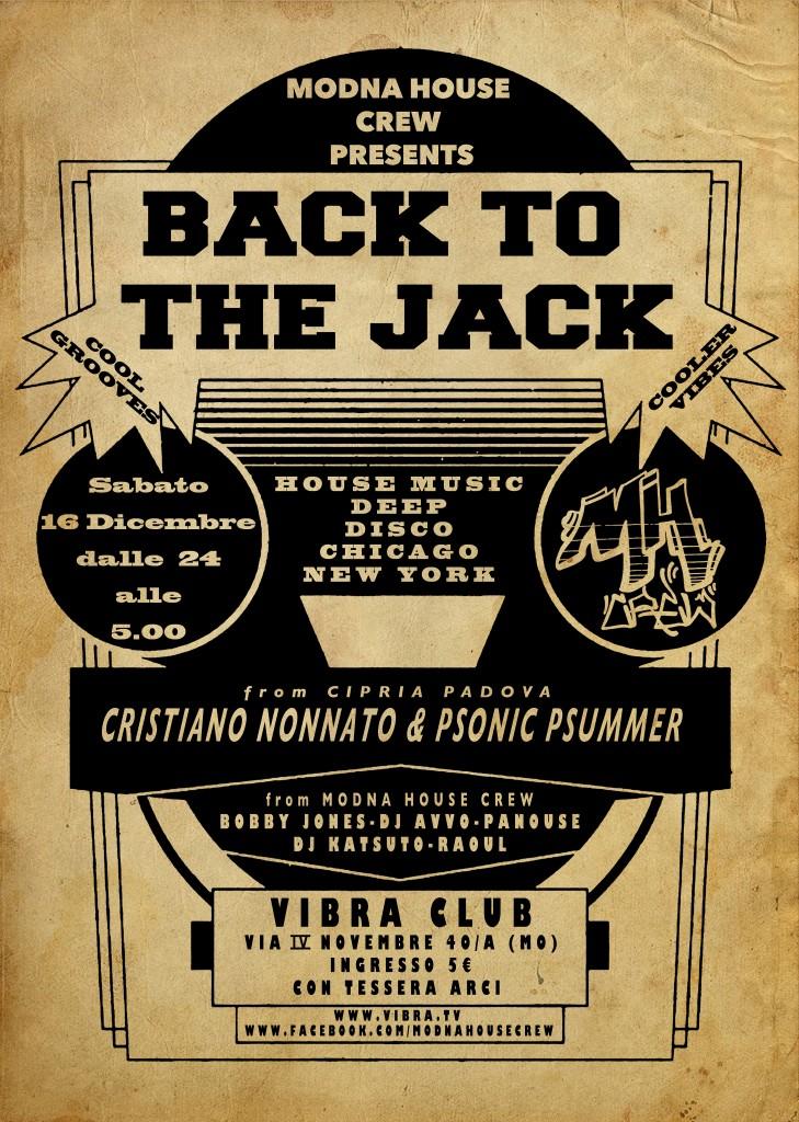 sabato 16 dicembre Back to the Jack feat. Cristiano Nonnato & Psonic Psummer