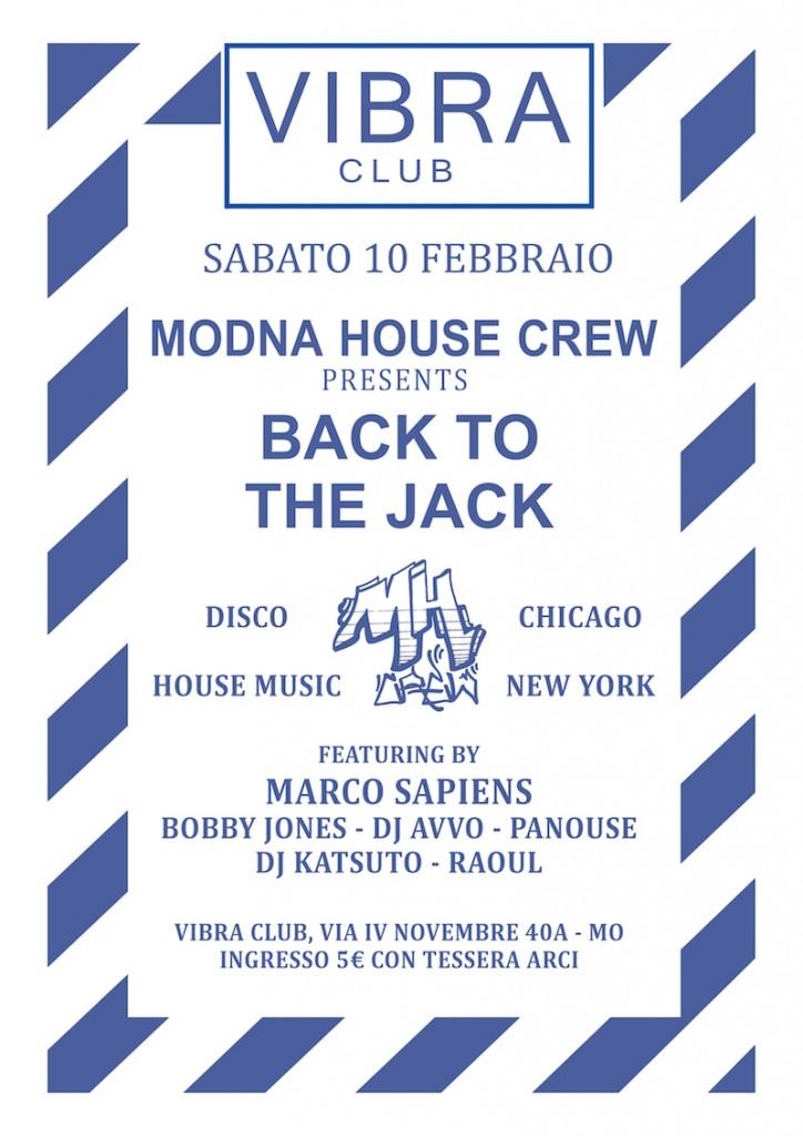 Sabato 10 Febbraio Back to the Jack