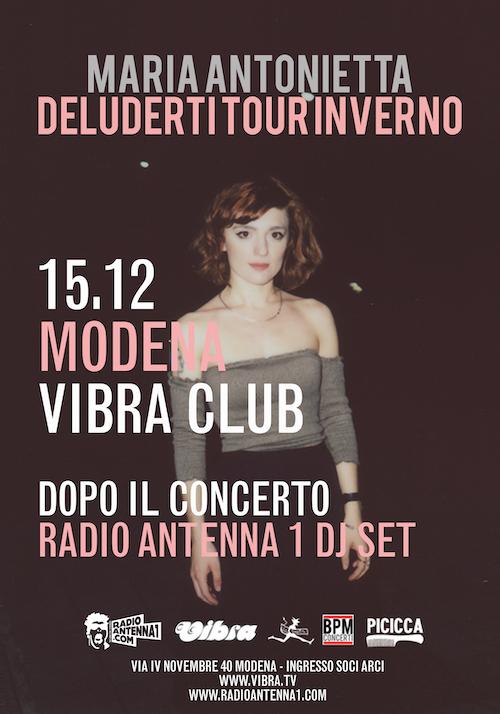 Sabato 15 Dicembre MARIA ANTONIETTA live + Antenna1 djset